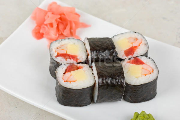Sushis crabe viande fromages tomate Photo stock © olira