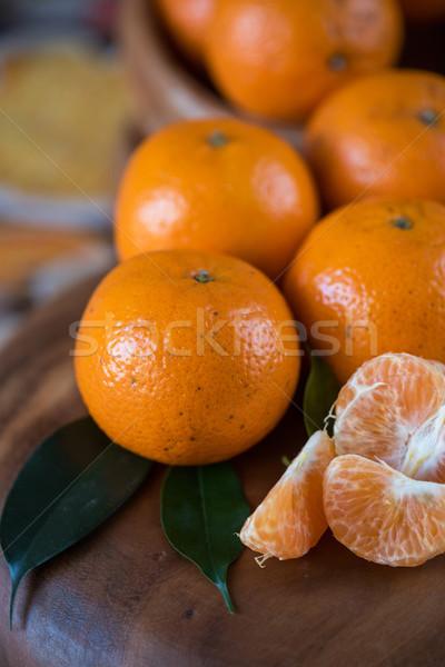 tangerines on wooden background Stock photo © olira