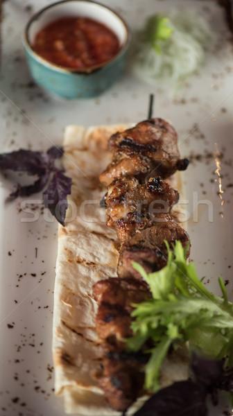 Grillezett kebab disznóhús hús mártás pázsit Stock fotó © olira