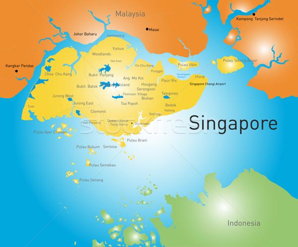 республика Сингапур вектора цвета карта город Сток-фото © olira