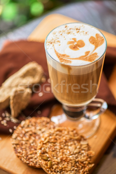 coffee latte cup with cookies Stock photo © olira