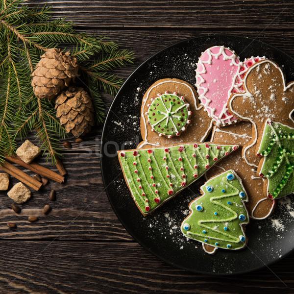 Nieuwjaar eigengemaakt peperkoek man brood snoep Stockfoto © olira