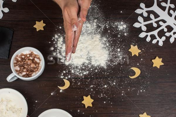 Kész kezek fa asztal étel fa szakács Stock fotó © olira