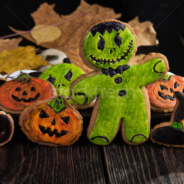 Stock photo: Homemade delicious ginger biscuits for Halloween