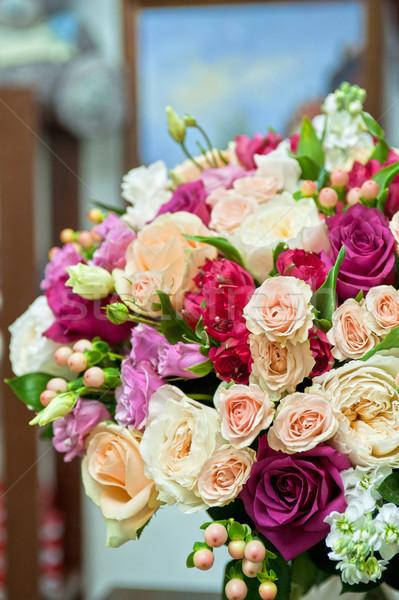 Esküvői csokor közelkép gyönyörű esküvő rózsa természet Stock fotó © olira