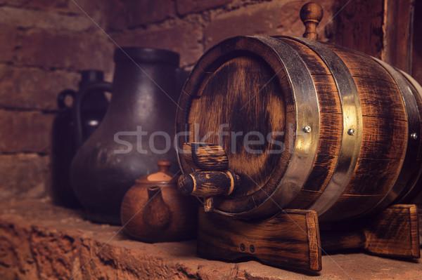 barrels in the wine cellar Stock photo © olira