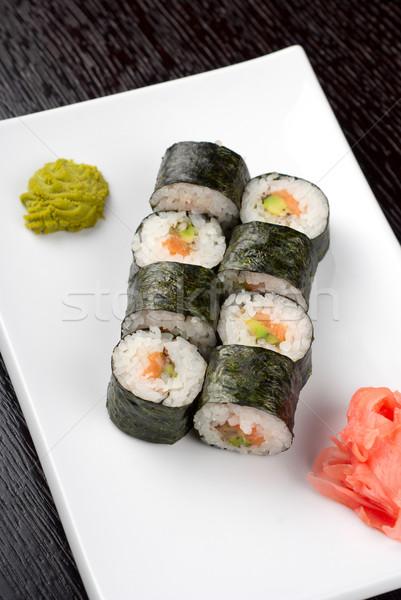 Maki szusi avokádó hal háttér étterem Stock fotó © olira