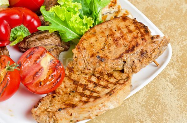 Bbq carne verdura primo piano verde Foto d'archivio © olira