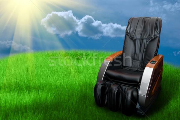 Massaggio poltrona campo in erba business ufficio Foto d'archivio © olira