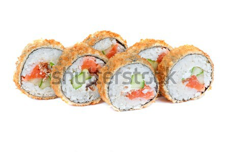 Roasted roll with smoked eel and salmon fish Stock photo © olira