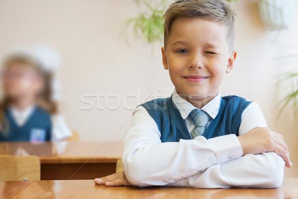 Feliz colegial sesión escritorio primero día Foto stock © olira