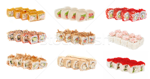Stock photo: sushi rolls with sesame avocado and shrimp
