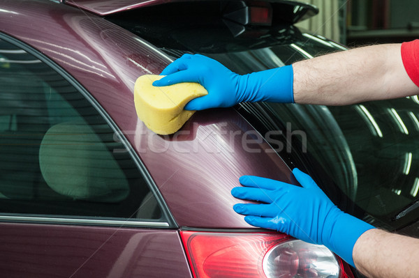 washing car with sponge Stock photo © olira