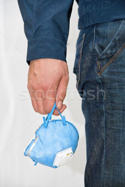 Defensie masker menselijke hand gezondheid achtergrond Stockfoto © olira