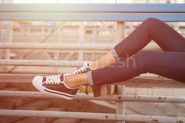 Mulher pernas branco ao ar livre tiro Foto stock © olira