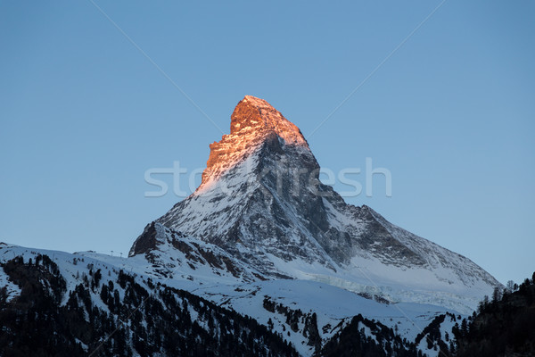 Sunset view of the Matterhorn Stock photo © oliverfoerstner