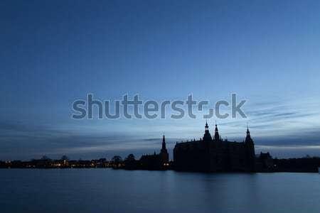 Silhouette castello foto tramonto verde notte Foto d'archivio © oliverfoerstner