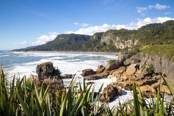 Coastline at Punakaiki pancake rocks, New Zealand Stock photo © oliverfoerstner