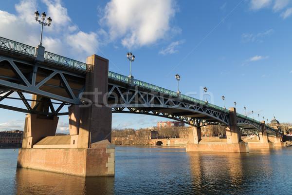 Garonne River and bridge Saint-Pierre in Toulouse, France Stock photo © oliverfoerstner