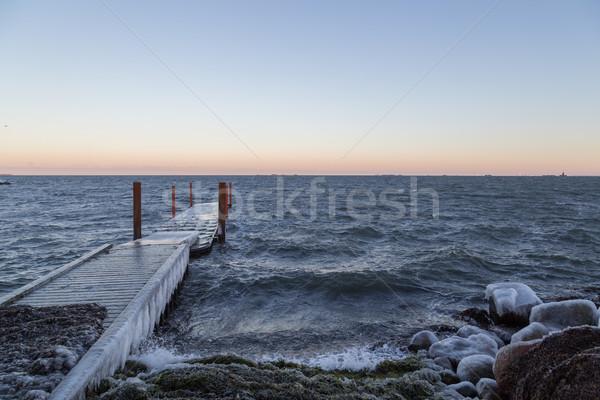 Stok fotoğraf: Dondurulmuş · okyanus · iskele · fotoğraf · plaj · Kopenhag