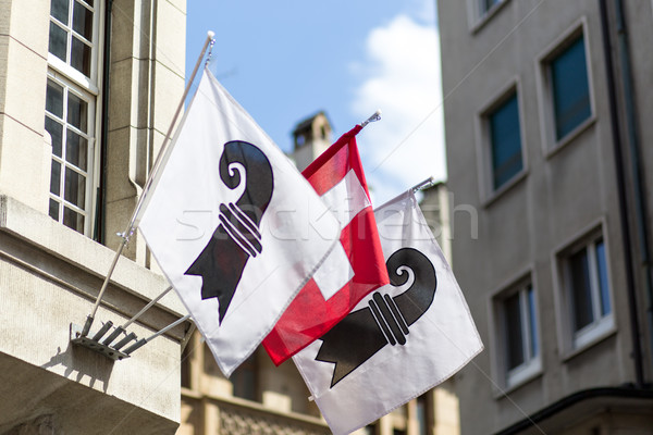Swiss and Basel Canton Flags Stock photo © oliverfoerstner