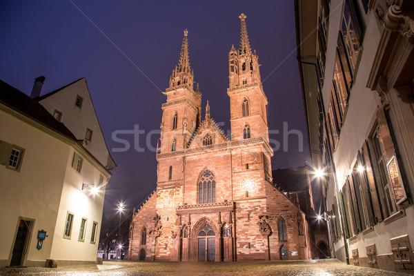Basel Minster at Night Stock photo © oliverfoerstner