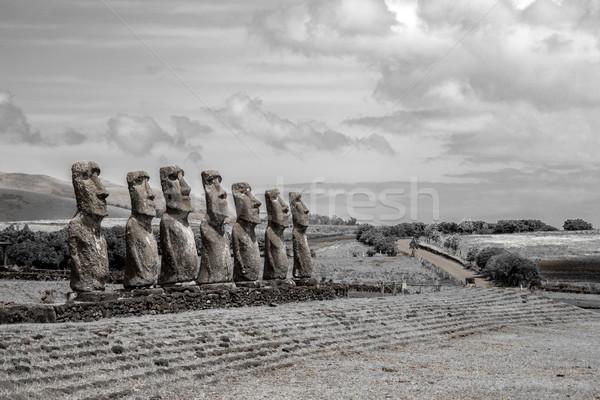 Ilha de Páscoa preto e branco foto Chile natureza paisagem Foto stock © oliverfoerstner