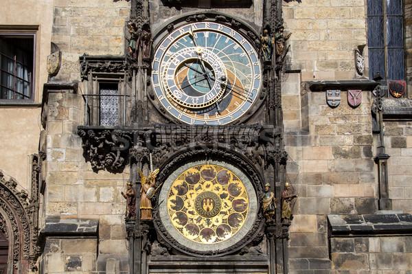 Csillagászati óra cseh köztársaság 16 híres Stock fotó © oliverfoerstner