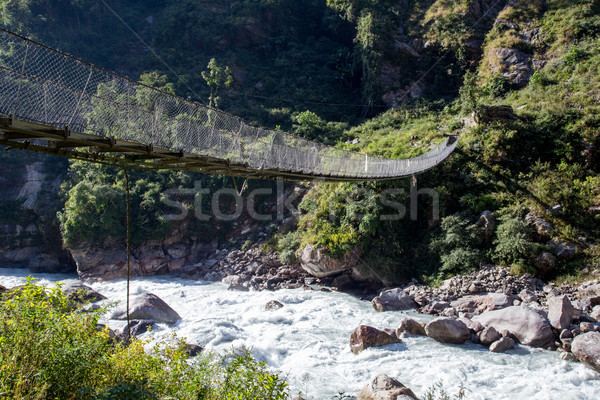Nepalese suspension bridge Stock photo © oliverfoerstner