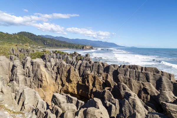 Punakaiki pancake rocks in New Zealand Stock photo © oliverfoerstner