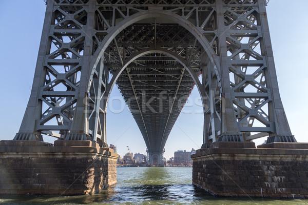 Brug boog Manhattan New York hemel gebouw Stockfoto © oliverfoerstner
