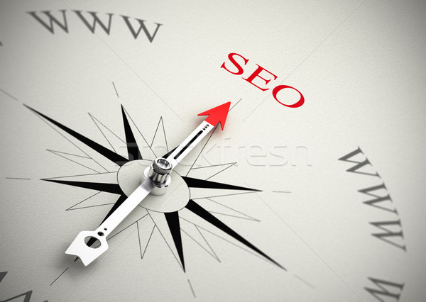 Web marketing seo kompas pijl wijzend Stockfoto © olivier_le_moal