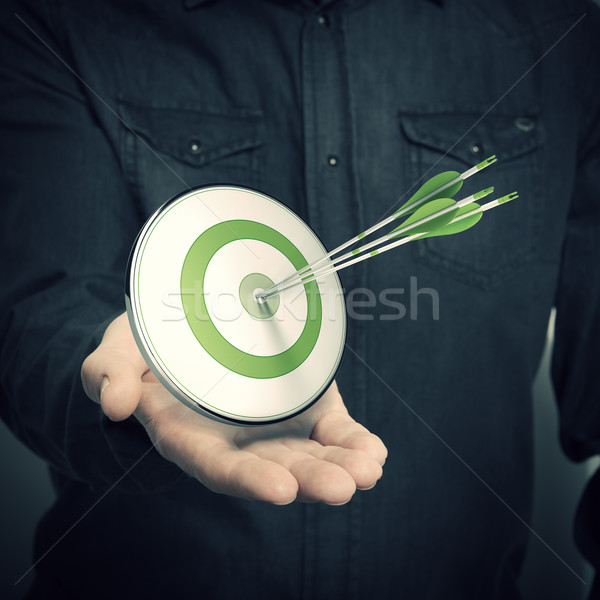 Stockfoto: Man · groene · target · marketing · oplossingen
