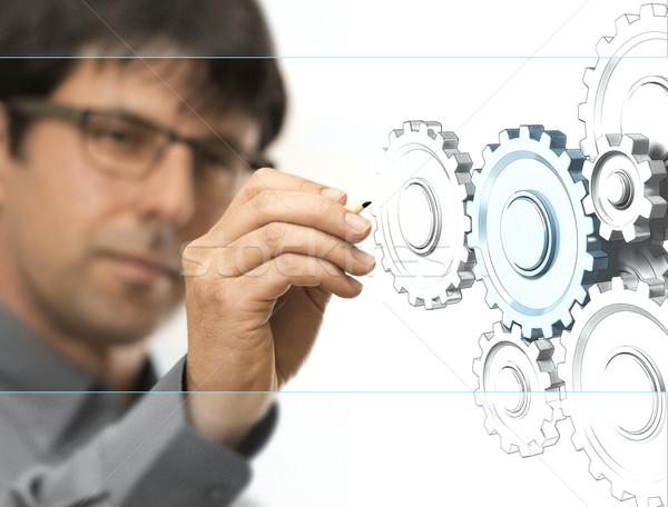 Inżynierii inżynier rysunek narzędzi przezroczysty Zdjęcia stock © olivier_le_moal