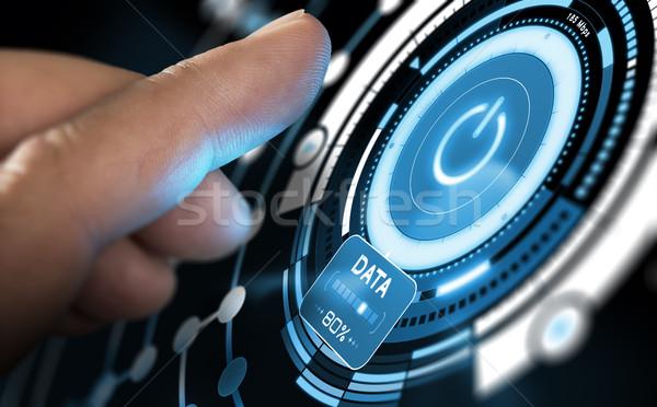 Nieuwe technologie futuristische gebruiker interface vinger Stockfoto © olivier_le_moal