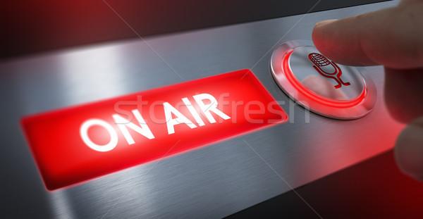 Radio estación aire signo dedo Foto stock © olivier_le_moal