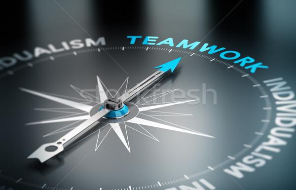 Stock photo: Teamwork vs Indidualism