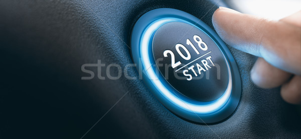 2018 Car Start Button, Two Thousand Eighteen Background. Stock photo © olivier_le_moal