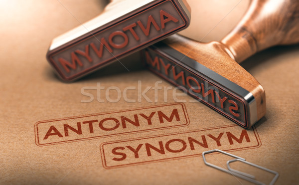 Semantics, opposite words antonym and synonym. Linguistics Conce Stock photo © olivier_le_moal