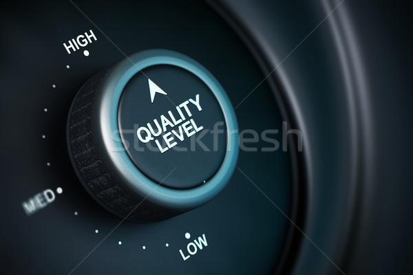 Alto nível qualidade gestão botão baixo Foto stock © olivier_le_moal
