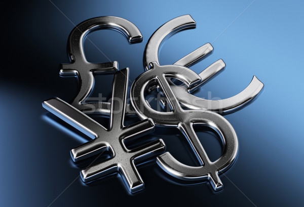 Dolar jen funt euro znaki srebrny Zdjęcia stock © olivier_le_moal