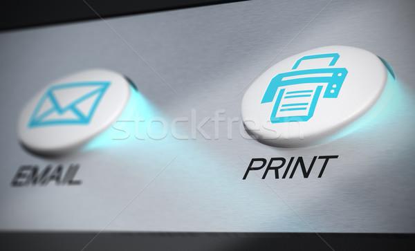 Imprimer bleu bouton aluminium imprimante clavier Photo stock © olivier_le_moal