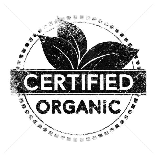 Organique certifié réaliste étiquette noir silhouette Photo stock © olivier_le_moal