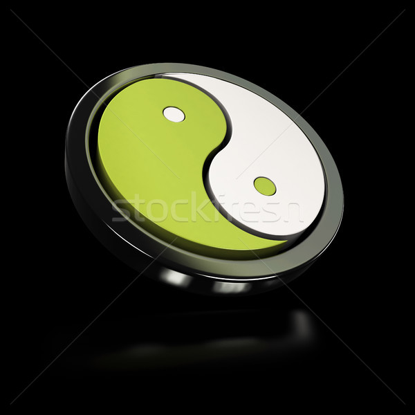 yin yang symbol over black background