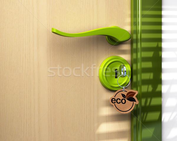 öko épület üvegház közelkép ajtókulcs gyűrű Stock fotó © olivier_le_moal