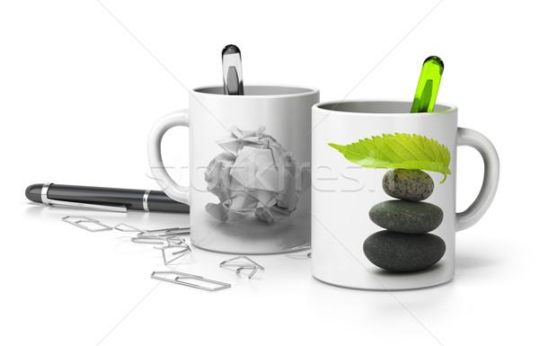Zen vs stressz kettő egy papír Stock fotó © olivier_le_moal