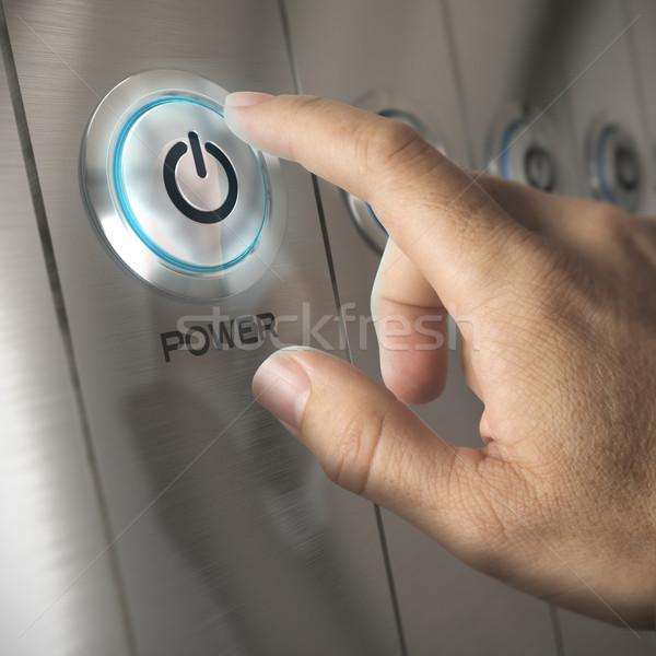 веб-сервер один пальца кнопки сетей Сток-фото © olivier_le_moal
