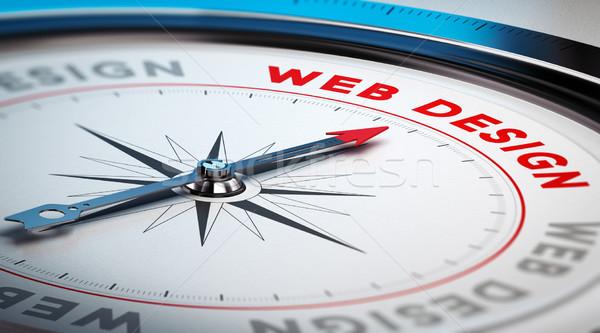 веб-дизайна компас иглы указывая слово иллюстрация Сток-фото © olivier_le_moal