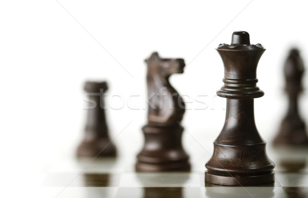 Chess Game over White Background Stock photo © olivier_le_moal