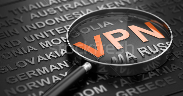 Focus On The Word VPN, Virtual Private Network And Countries Nam Stock photo © olivier_le_moal
